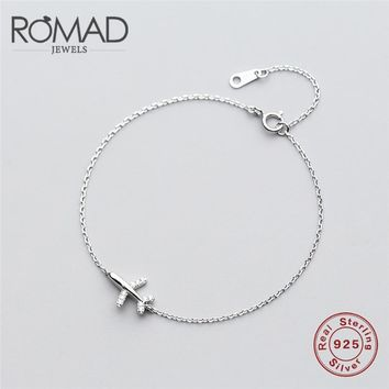 83469cc5d 925 Sterling Silver Jewelry Aircraft airplane Plane chain bracel