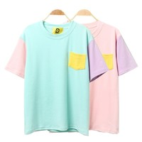 Harajuku Patchwork T Shirts Kawaii Cotton Short Sleeve Casual Tee Female Loose Cute Tops