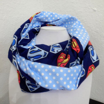 Superman Infinity Scarf - DC Comics - Soft Blue Cotton with Polka Dots - Woman Teen Pre-teen Girl