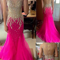 Hot Pink Prom Dress,Sweep Train Evening Dresses,Evening Dress