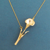 Romantic, Sideways, Lily, Gold, Necklace, Modern, Lovely, Flower, Necklace, Birthday, Best friends, Mom, Sister, Gift, Jewelry