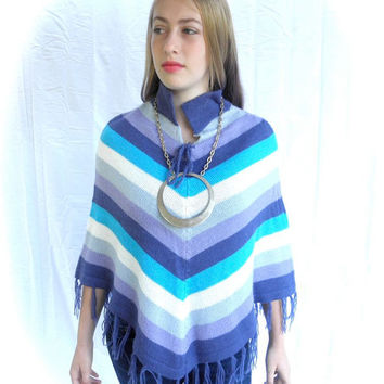 Groovy 70s Womens Striped Poncho in Purple Lavender Turquoise Gray White // Hipster