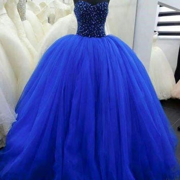Cecelle 2016 Royal Blue Long Big Tulle Beaded Ball Gown Princess Prom Dresses Sweetheart Corset Teens Party Gowns Floor Length
