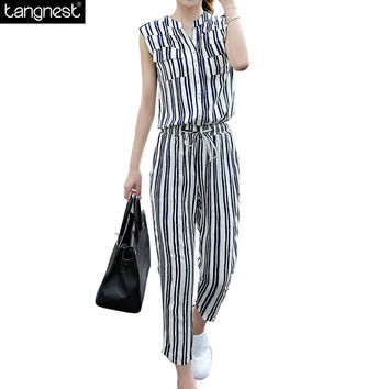 Women Striped Jumpsuits 2016 Fashion Rompers Sexy V-neck Spring Summer Overalls Female Ankle-Length Chiffon Pants Suit WKL614