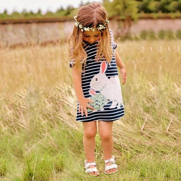 Girls Summer Dress Toddler Striped Rabbit Embroidered Children Clothing 2018 New Short Sleeve Casual Kids Clothes