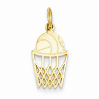 14k Yellow Gold Basketball in Net Charm Pendant