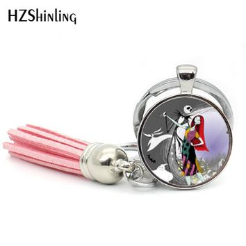 2017 Fashion Jack Skellington and Sally Keyring Bohemian Tassel Key Chain Nightmare Before Christmas Gift Jewelry Glass Keychain