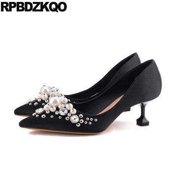 Wedding Pumps Pointed Toe Silk Bridal Plus Size Pearl High Heels Shoes Ivory Satin Crystal Metal Women Red Stud Kitten Medium 33