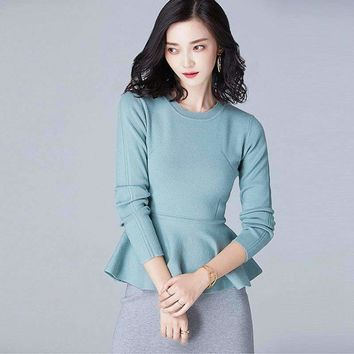 Runway Sweater Women Ruffles Design 48% Viscose Blended O Neck Long Sleeves 4 Colors Women Elegant Style
