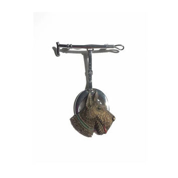 Scottie Dog Brooch - 1930's Vintage Brooch - Doggie Dangler Pin - Silver Riding Crop And Dog Pin