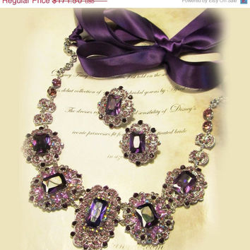 Wedding jewelry set, OOAK  bib necklace and earrings, vintage inspired purple rhinestone necklace statement, crystal jewelry set