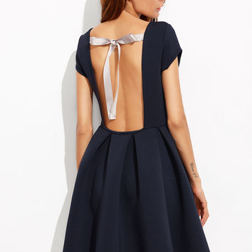 Navy Open Back Box Pleated Skater Dress
