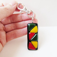 Rasta zipper pull, purse charm, backpack accessory, fused glass swival clip, reggae lover gift, unisex gift