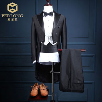 2016 High Quality Brand Tailcoat Suits Men's Blazers Slim Fit Groom Wedding Prom Tuxed 5 Piece (Jacket+Pants+Vest+Bow tie+Belt)
