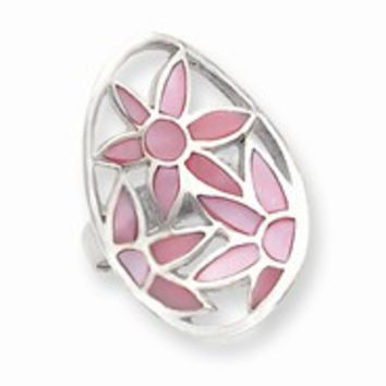 Sterling Silver Pink Mother of Pearl Flower Ring