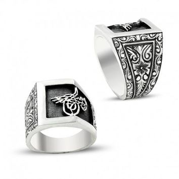 Filigree ottoman sultan signature 925k sterling silver mens ring unique turkish jewelry handcrafted
