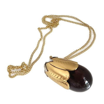 "AVON Eggplant Perfume Bottle Pendant, Vintage 1970s, Gold Tone 24"" Chain Necklace"