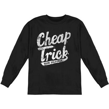 Cheap Trick Men's  Swoosh Logo  Long Sleeve Black Rockabilia