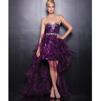 2013 Prom Dresses - Plum Sequin & Chiffon Sweetheart High Low Prom Dress - Unique Vintage - Prom dresses, retro dresses, retro swimsuits.