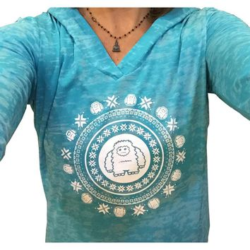Copy of Yeti Burnout Hoodie with celestial snowflake design-Teal
