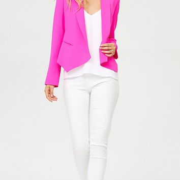 Hard To Ignore Hot Pink Long Sleeve Open Front Blazer Jacket Outerwear