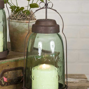 Mason Jar Butler Lantern Candle Holder from CrookedWood