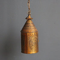 Copper Hanging Lantern. Punched Out Metal.