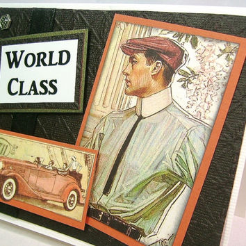 Great Gatsby greeting card, Masculine all-occasion card, World Class, antique automobile, Nostalgic, Rich colors, Dads, Guys, Boyfriend