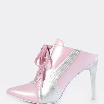 Backless Point Toe Lace Up Heels PINK