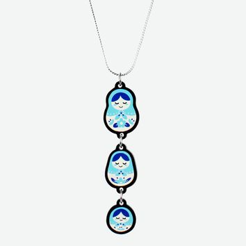 Nesting Doll necklace in Sky