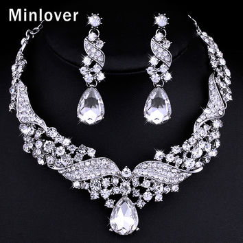 Minlover High Quality Austrian Crystal Water Drop Earrings and Necklace for Women Silver Rhinestone Bridal Jewelry SetsTL006