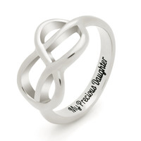 "Daughter Gift - Infinity Promise Daughter Ring Engraved on Inside with ""My Precious Daughter"", Sizes 6 to 9"
