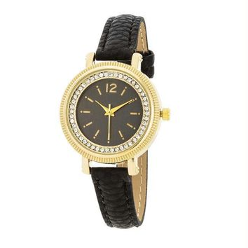 Georgia Gold Crystal Watch With Black Leather Strap