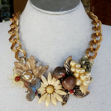 On Sale Now OOAK RePurposed Floral Fall Collage Upcycled Choker Bib Necklace Gold Tone Vintage Plastic Brooch
