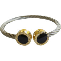 Stainless Steel Twisted Cable Cuff Bracelet Round Enamel Tips