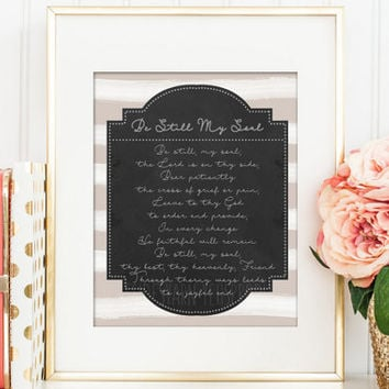 Be still my soul Hymn Art, Christian Wall Art, Christian Art, Hymn Lyrics Hymn Print Christian Gift, Song Lyrics Print, Song Lyrics Wall Art