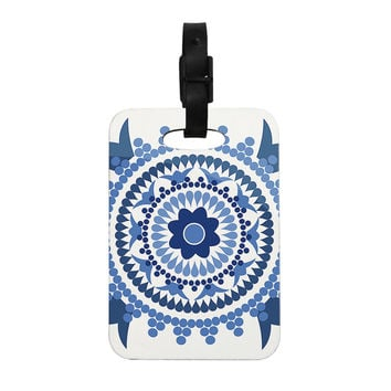 "Carolyn Greifeld ""Bohemian Blues"" Blue White Decorative Luggage Tag"