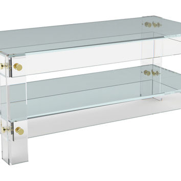 Cap Ferrat Coffee Table w/ Shelf, Small, Acrylic / Lucite,