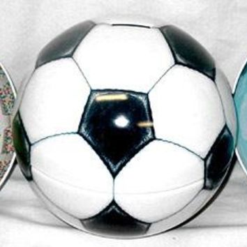 Soccer Ball Popcorn Tin Bank with Medium Bag of Popcorn Fathers Day