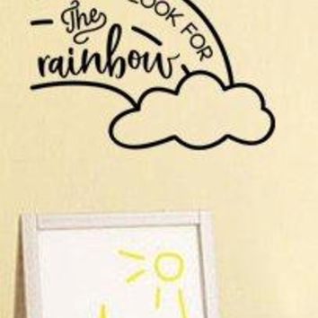 "Lucky Girl Decals Inspired by Winnie The Pooh Always Look For The Rainbows Vinyl Wall Decal Sticker Cloud 16"" w x 12"" h"