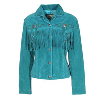 Scully Turquoise Suede Jacket with Conchos and Fringe