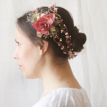Flower Crown, Bridal Headpiece, Rustic Circlet, Floral Halo, Wildflower Wreath, Pink Double Crown, Hair Accessories, Romantic, Fairy