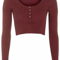Striped Popper Front Crop Top - Red
