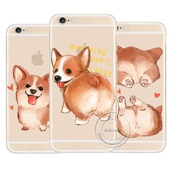 Transparent  Dog Cartoon Corgi Case For Apple iPhone 7 5 5S SE 6 6S Plus Sexy  Hard Plastic Phone Cover