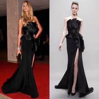 Stunning Strapless  Black Mermaid Evening Dresses  2016 Sexy Long Split Party Prom Gowns Floor Length Plus size