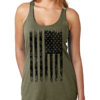 Military Green American Flag Tank Top