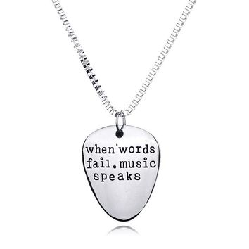Hand Stamped Silver Letter Engraved Guitar Pick Necklace