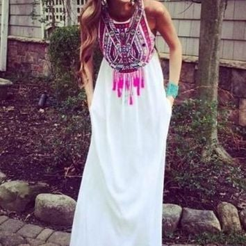 White Floral Print Tassel Floor Length Ethnic Summer Beach Evening Party Bohemian Chiffon Maxi Dress