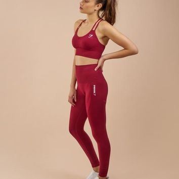Gymshark Seamless Cross Back Sports Bra - Beet