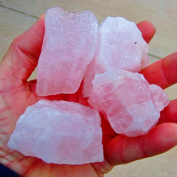 WHOLESALE 1 Lb Lot  Large ROSE QUARTZ Crystals - Natural Pink Quartz Crystal Tumbling Facet Wire Wrap Bead Rough from Brazil by GeoSpecimens